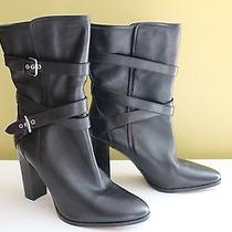 New Coach Gorgeous Black Leather Buckled Alexandra Heels Boots 11 B 298 Photo