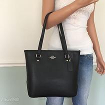 New Coach Gorgeous Black Leather Medium Tote Shoulder Bag Shopper Purse Handbag Photo