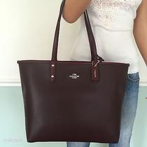 New Coach Gorgeous Pvc Leather Large Tote Shoulder Bag Purse Handbag Wine Red Photo