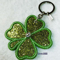 New Coach Green Glitter Clover Charm Key Fob Key Chain Photo