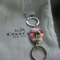 New Coach Hadley Pink/white Stripe Valet Key Ring Key Chain Fob Charm F62506 Photo