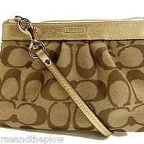 New Coach Handbag Khaki & Bronze Signature Pleated Wristlet Nwt  Photo
