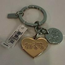 New Coach Heart Charm With Multi Mix Key Ring (Coach F63381) Nwt Photo