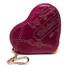 New Coach Heart Coin Purse Metallic Magenta Jewel Leather  Key Ring Charm 44477 Photo