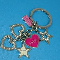 New Coach Heart Stars Girlie Mix Charms Keychain Key Ring Fob Pink/silver Girl Photo
