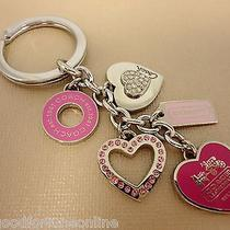 New Coach Hearts Girlie Mix Charms Keychain Key Ring Fob Pink/silver 92339 Pave Photo