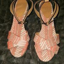 New Coach Henley Wedge Coral Sz 8 Fabric W/leather Trim & Woven Jute No Box Photo