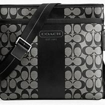New Coach Heritage Stripe Zip Top Crossbody Bag File Bag Black F70591 Photo
