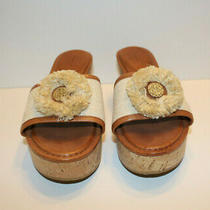 New Coach  Jazmin Canvas & Cork Natural Wedge Sandals Women's Size 8.5 M   Photo