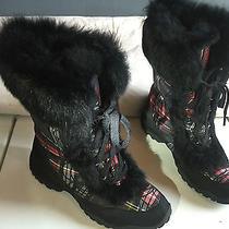 New Coach Jennie Signature Black/red Tartan Plaid Real Fur Winter Boots Sz 7.5 Photo