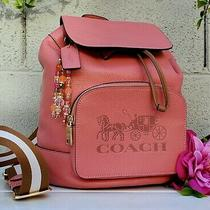 New Coach Jes Backpack 90399 Coral Pebble Leather Horse Carriage Logo Purse Bag Photo