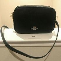New Coach Jes Double Zip Crossbody Leather Bag - Black/ Gold Photo