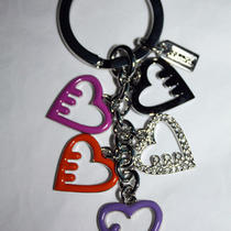 New Coach Key Chain Ring Fob Purse Candy Pave 5 Dangle Hearts  Photo