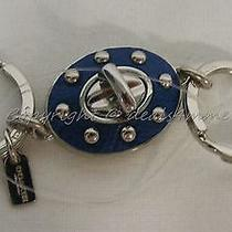 New Coach Key Ring 63628 Rivet Valet Keyring/key Chain Key Fob. Blue & Silver Photo