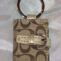 New Coach Khaki Siganture Gold Picture Frame Key Chain Fob Purse Charm W/dust B Photo