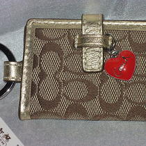 New Coach Khaki Siganture Heart Charm Picture Frame Key Chain Fob Purse Charm Photo
