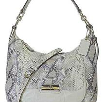 New Coach Kristin Python Embossed Leather Hobo 19323 Parchment Nwt Msrp 498 Photo
