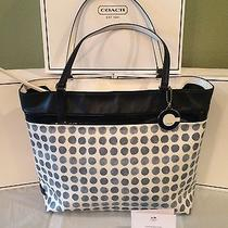 New Coach Large Blue Painted Dot Coated Canvas Tote 29432 Photo