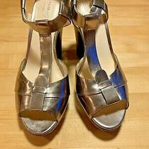New Coach Leather Platform Heels Shoes 9b Srp199 Metallic Pewter Patent Silver Photo
