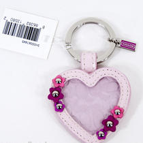 New Coach Leather Signature Floral Heart Picture Frame Key Chain Purse Fob 93156 Photo