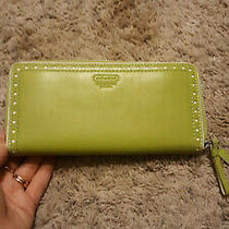 New Coach Leather Wallet Light Green Zip Around  Photo
