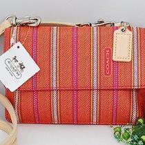 New Coach Legacy Pink Lime Weekend Stripe Crossbody Cell Iphone Wallet Bag 64630 Photo