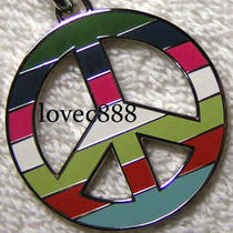 New Coach Legacy Stripe Peace Sign Key Fob Key Chain Photo