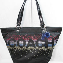 New Coach Limited Ed Black Holiday Rhinestone Signature Tote Bag Purse 17144 Photo