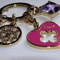 New Coach Logo Mix Gold Pink Heart Crystal Jewel Key Ring Chain Fob Purse Charm  Photo