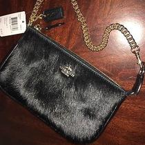 New Coach Luxury Black Calf Hair & Leather Wristlet Gold Chain 64583 Msrp 195 Photo