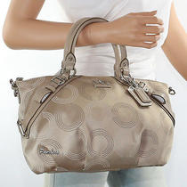 New Coach Madison Dotted Op Art Sophia Satchel Shoulder Bag 15935 Khaki Rare    Photo
