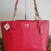 New Coach Madison Leather Tote 20466 Bag Purse Pink Punch 298 Photo