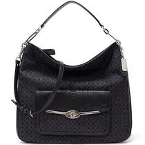 New Coach Madison Op Art Pearlescent Hobo Silver / Black 27906 Photo