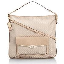 New Coach Madison Op Art Pearlescent Laptop Handbag Tan Khaki and Leather 27906 Photo