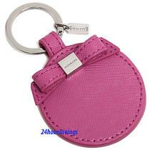 New Coach Magenta Pink Leather Bow Round Mirror Silver Fob Ring Key Chain 62504 Photo