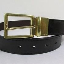 New Coach Men Belt Brown Black Reversible Genuine Leather Gold Buckle Vintage 32 Photo
