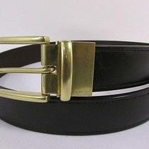 New Coach Men Belt Brown Black Reversible Genuine Leather Gold Buckle Classic 32 Photo