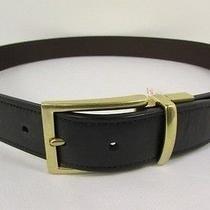 New Coach Men Stylish Belt Brown Black Reversible Genuine Leather Gold Buckle 32 Photo