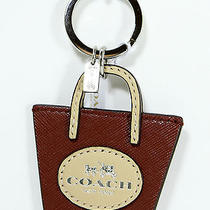 New Coach Metro Tote Handbag Maroon Leather Key Ring Key Chain Fob Charm F62984 Photo