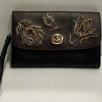 New Coach Mini Crossbody Signature Leather Black/brown Gold Clutch Wristlet Bag Photo