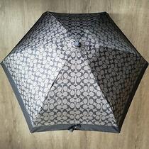 New Coach Mini Umbrella in Black Signature Logo Nwt 68 Photo