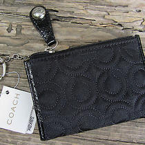 New Coach Op Art Black Skinny Zip Top Coin Purse & Key Ring Signature Collection Photo