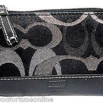 New Coach Optic Art Lurex Black Silver Mini Wallet Skinny Key Coin Id Case 40286 Photo