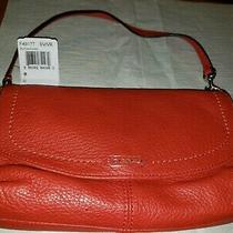 New Coach Park F49127 Wristlet Red Leather Flap Wristlet Clutch Nwt Photo