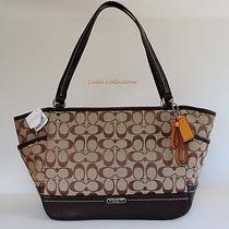 New Coach Park Signature Carrie Tote-F23297 Khaki/mahogany Photo
