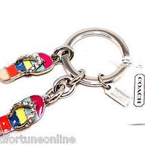 New Coach Pave Crystal Flip Flop Sandal Key Ring Chain Purse Charm Summer 93163 Photo