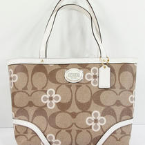 New Coach Peyton Khaki White Clover Signature Top Handle Tote Bag Purse 48314 Photo