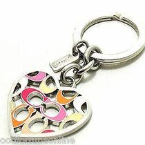 New Coach Pierced Signature Heart Enamel Keyring Key Chain Pink/silver 64507 Photo
