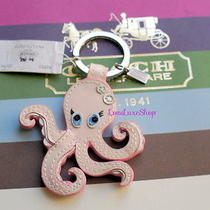 New Coach Pink Patent Leather Octopus Key Chain Fob Ring Purse Charm Ocean Rare  Photo