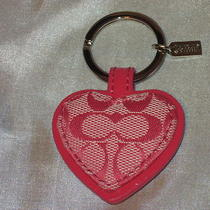New Coach Pink Signature Print Heart Key Chain Fob Purse Charm Comes W/dust Bag Photo